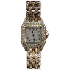 Cartier Lady's Yellow Gold Diamond Panthere Quartz Wristwatch