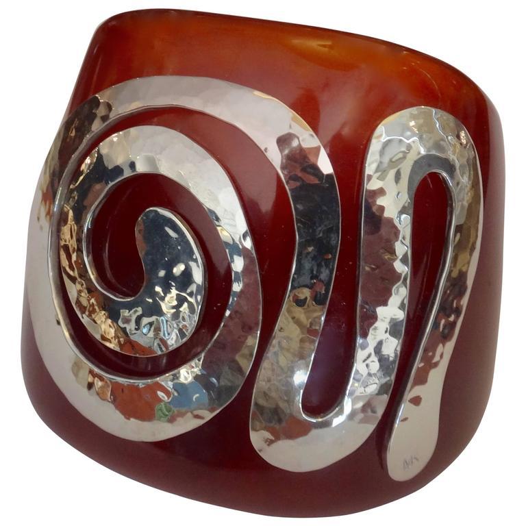 Bakelite Sterling Silver Cuff Bracelet 1