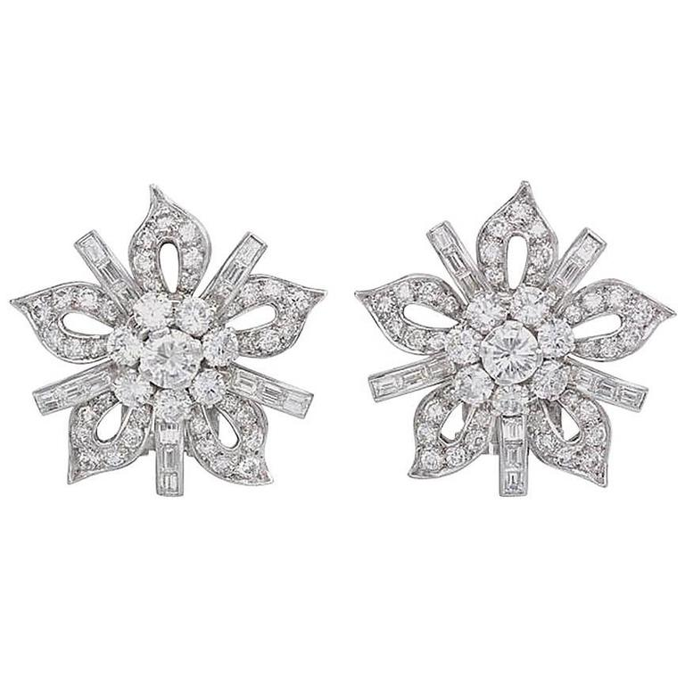 1950s Diamond Platinum Stylized Flower Earrings