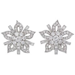 Diamond and Platinum 1950s Stylized Flower Clip Earrings