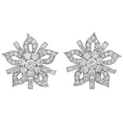 1950s Diamond Platinum Stylized Flower Earrings