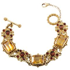 Stephen Dweck Citrine Garnet Gold Toggle Bracelet