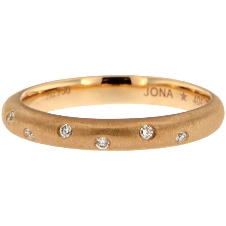Jona White Diamond 18k Brushed Rose Gold Band Ring