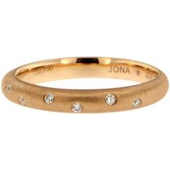 Jona White Diamond 18 Karat Brushed Rose Gold Band Ring