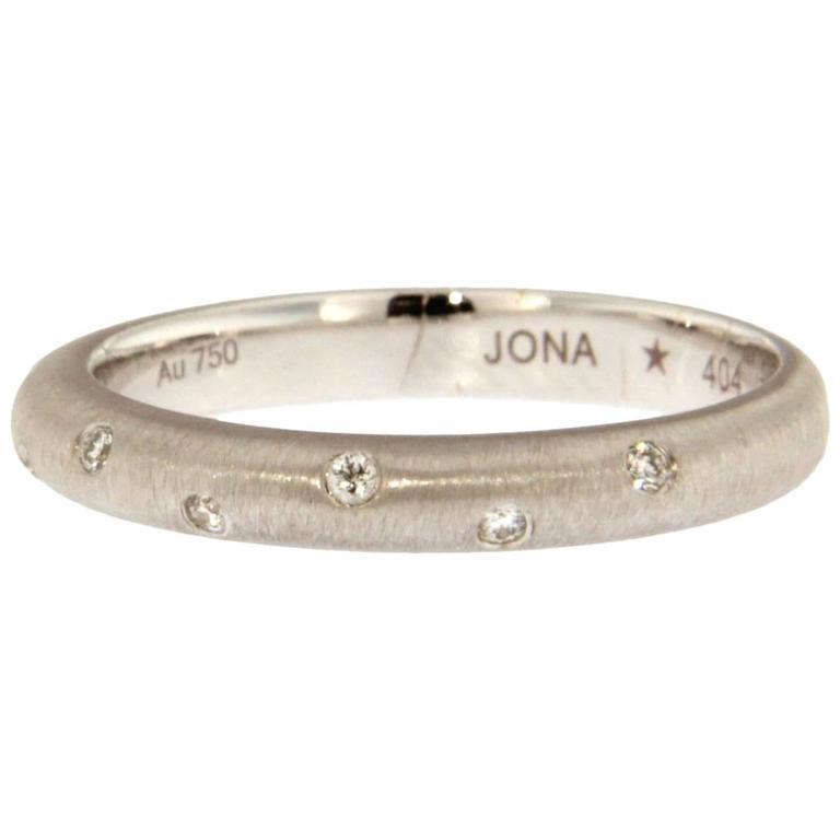 Jona Diamond Brushed White Gold Band Ring