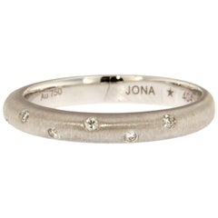 Jona White Diamond Brushed 18 Karat White Gold Band Ring