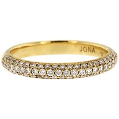 Jona White Diamond 18 Katat Yellow Gold Band Ring