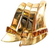 French Retro Citrine Gold Brooch