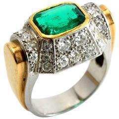 Art Deco Architectural Emerald Diamond Gold Ring