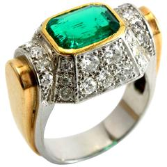Art Deco Architectural Emerald Diamond Platinum and 18K Yellow Gold Ring