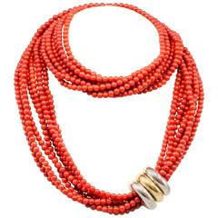 Poiray Coral Strand 3 Color Gold Necklace