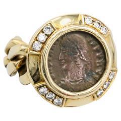 Bulgari Ancient Coin Diamond Gold Flexible Ring