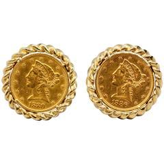 David Webb Gold $5 Liberty Head Coin Cufflinks