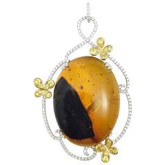Karina Brez Oval Amber Diamond Yellow Sapphire Gold Butterflies Pendant