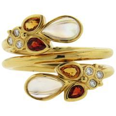 Temple St. Clair Moonstone Orange Sapphire Diamond Gold Ring