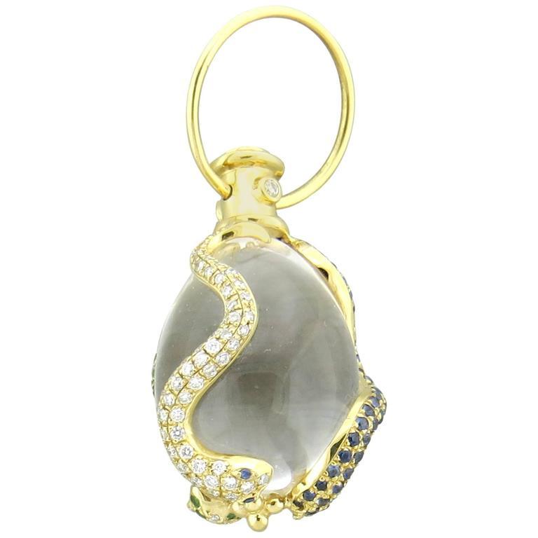 Temple St. Clair Crystal Sapphire Tsavorite Diamond Gold Snake Amulet Pendant