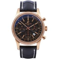 Breitling Rose Gold Transocean 42mm Chronograph Diamond Bezel Wristwatch