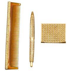 French Retro Three Color Gold Basket Weave Vanity Set