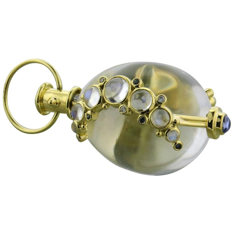 Temple St. Clair Crystal Tanzanite Sapphire Diamond Gold Amulet Pendant