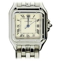 Cartier Stainless Steel Tank Panthere Ivory Dial Quartz Wristwatch