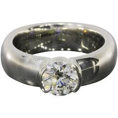 Tiffany & Co. 1.09 Carat Round Brilliant Diamond Platinum Etoile Semi Bezel Ring