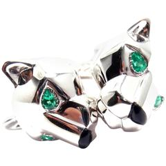 Cartier Panthere Panther Black Onyx Emerald Gold Cufflinks