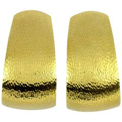 David Webb Hammered Gold Hoop Earrings