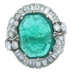 5 Carat Emerald Diamond Gold Ring