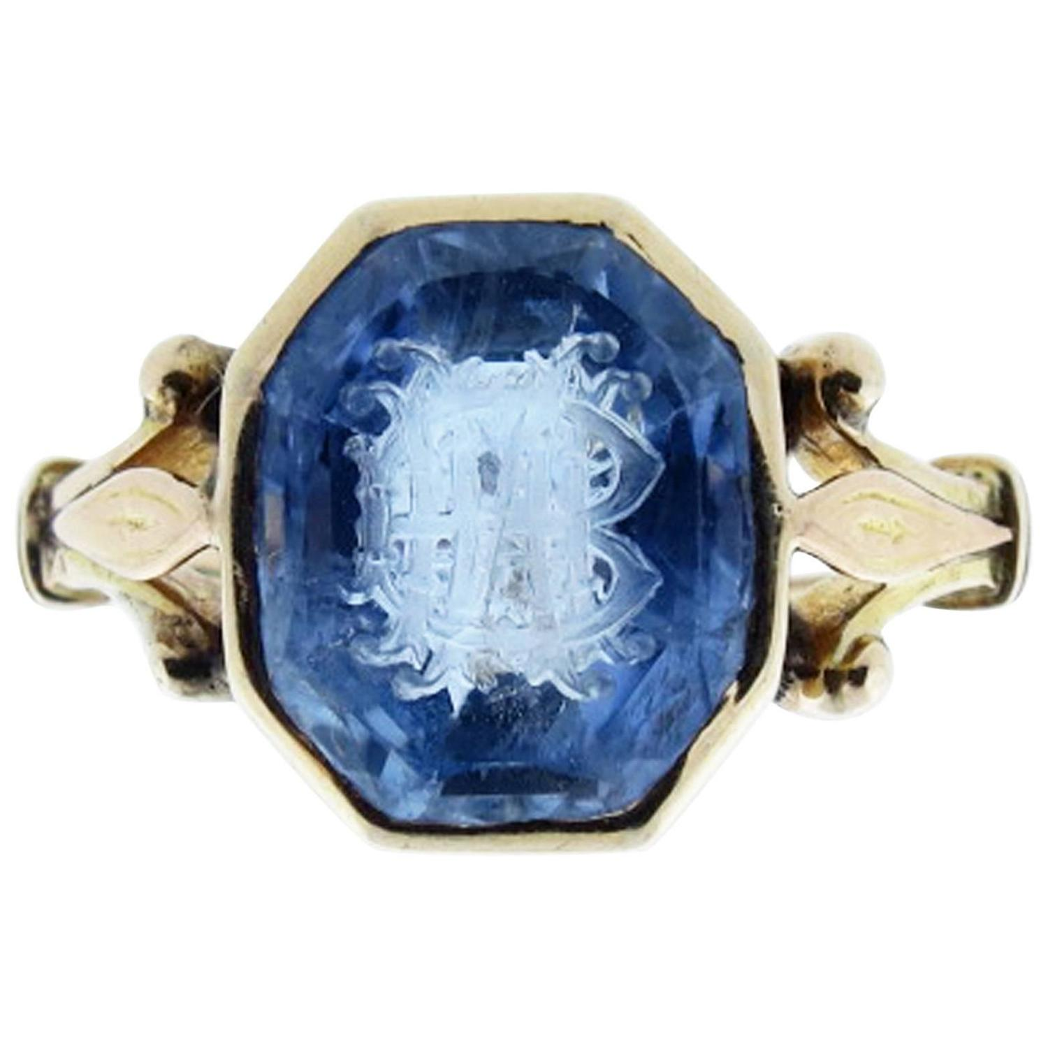 Antique Natural Carved Sapphire Gold Signet Ring At 1stdibs