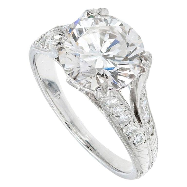 GIA Certified 4.01 Carat Diamond Platinum Split Shank Engagement Ring