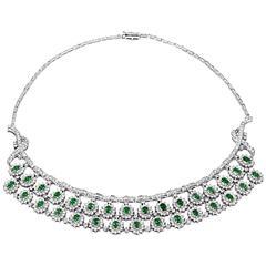 Emerald Diamond Gold Fringe Choker Necklace