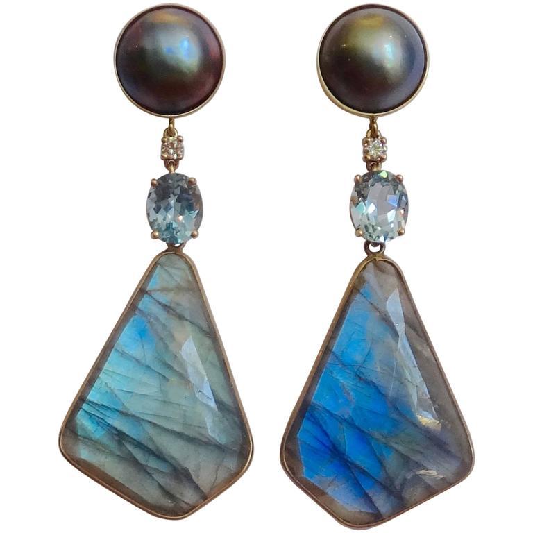 Labradorite aquamarine pearl Diamond dangle earrings