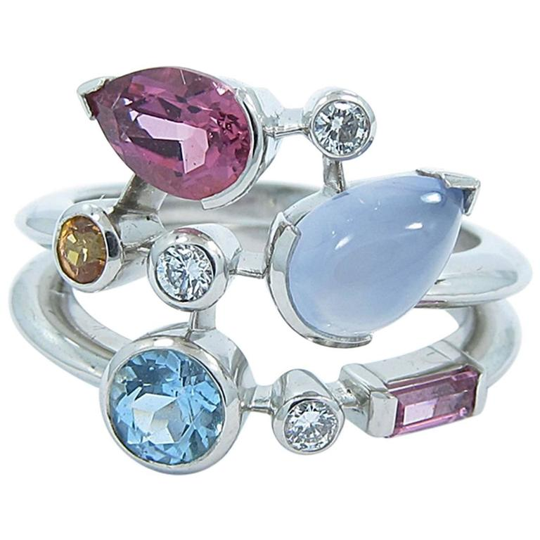 Cartier Meli Melo Multicolor Gemstone Diamond Platinum Ring 1