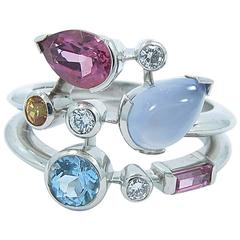 Cartier Meli Melo Multicolor Gemstone Diamond Platinum Ring