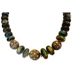 Labradorite diamond Mogul bead necklace