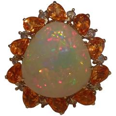 Opal Spessartite Garnet Diamond Gold Ring