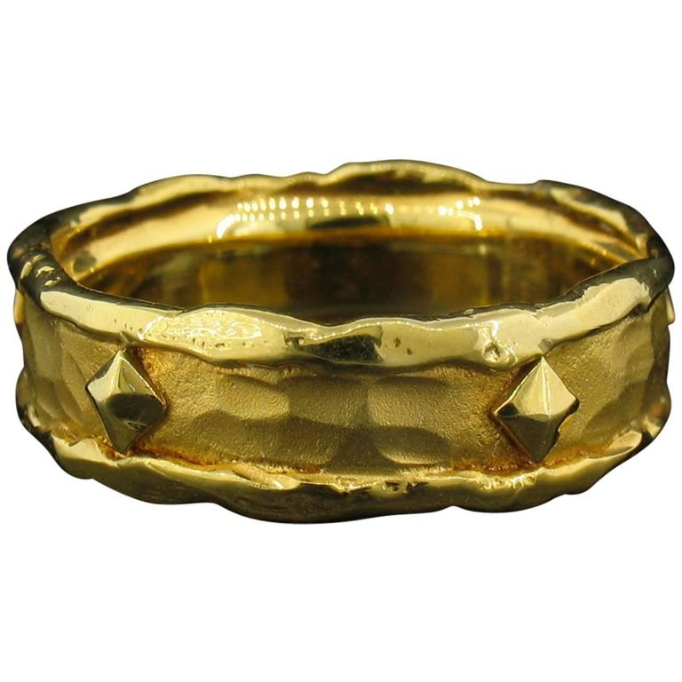 Victor Velyan Gold Band Ring with Nails For Sale
