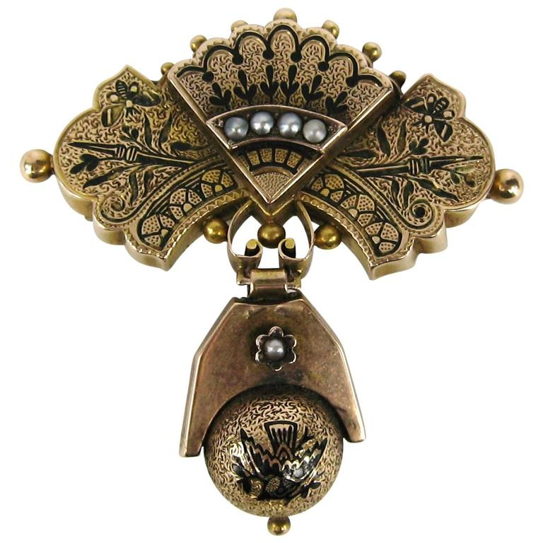 1860s Victorian Gold Drop Seed Pearl Bar Brooch / Pendent