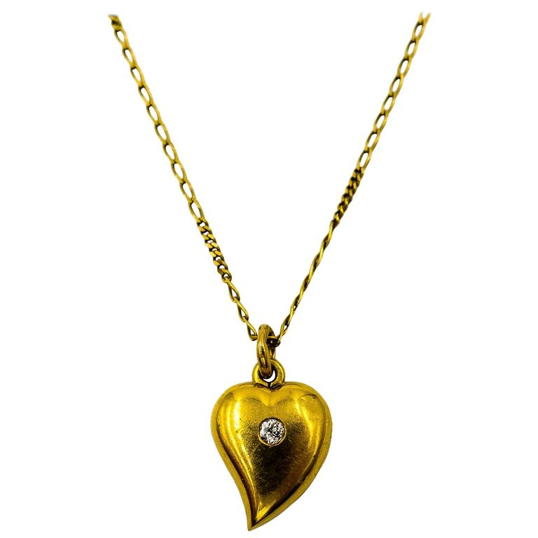 Charming  Gold Antique Diamond Heart Locket and Chain 1