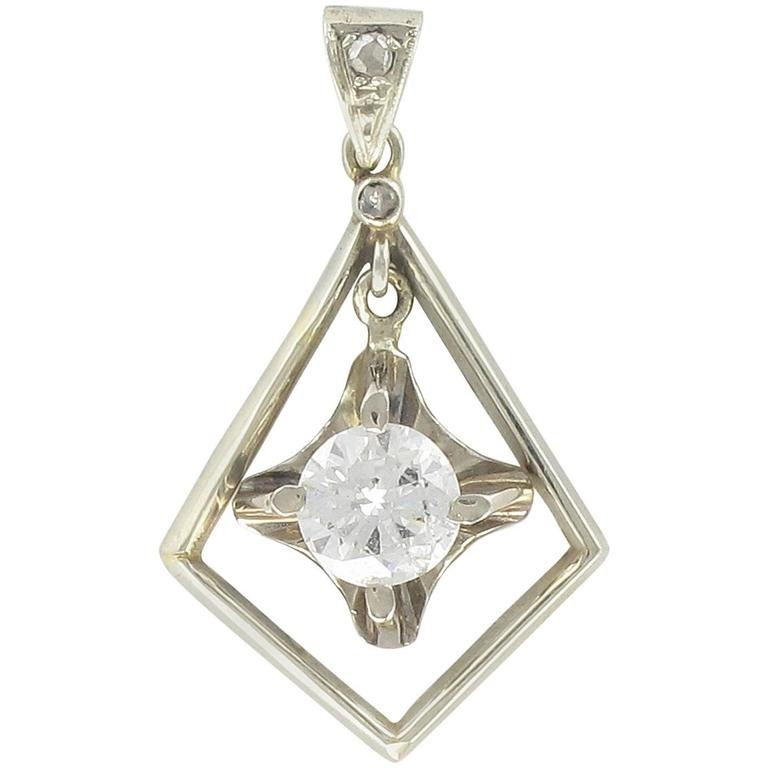 1920s  Diamond Lozenge Pendant For Sale