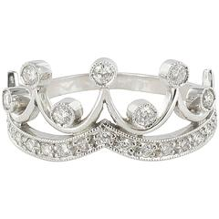 New Diamond 18 Karat White Gold Tiara Ring