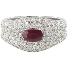 Modern Ruby and Diamond 18 Carat White Gold Band Ring
