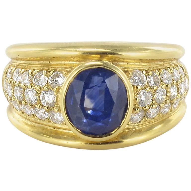 3.90 carat Blue Sapphire Diamond Ring