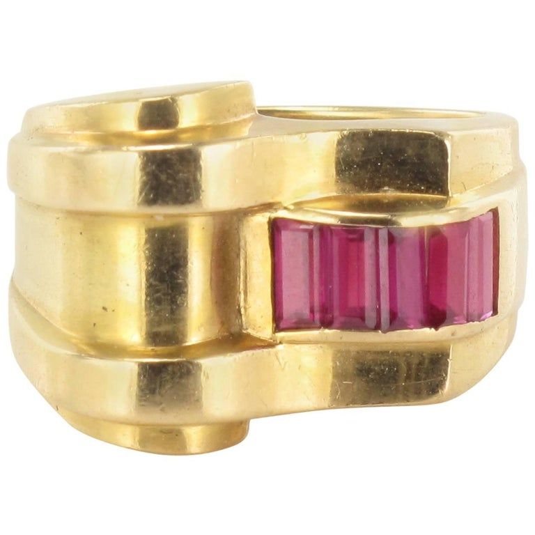 Original Ruby Tank Ring For Sale