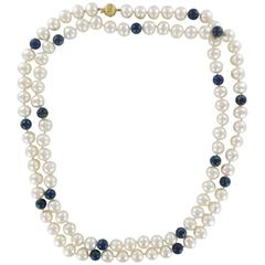 Superb Pearl and Azurite Long Necklace