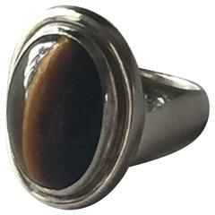 Georg Jensen Sterling Silver Tiger's Eye Ring No. 46A by Harald Nielsen