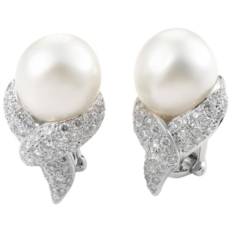 and pearl clip on white gold earrings at 1stdibs
