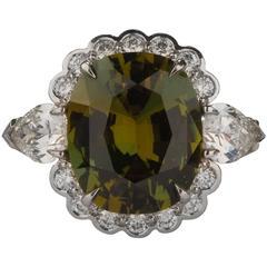 GIA Cert 5.10 Carat Alexandrite, Diamond and Platinum Ring