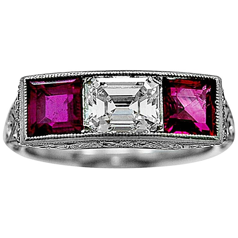 Bailey Banks & Biddle Antique Ruby Diamond Ring For Sale