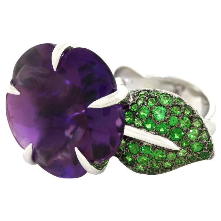 Chanel Amethyst and Tsavorite Flower Ring For Sale